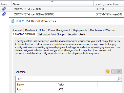 Collection Properties-Collection Variables tab selected-Variables Unit set to ATS